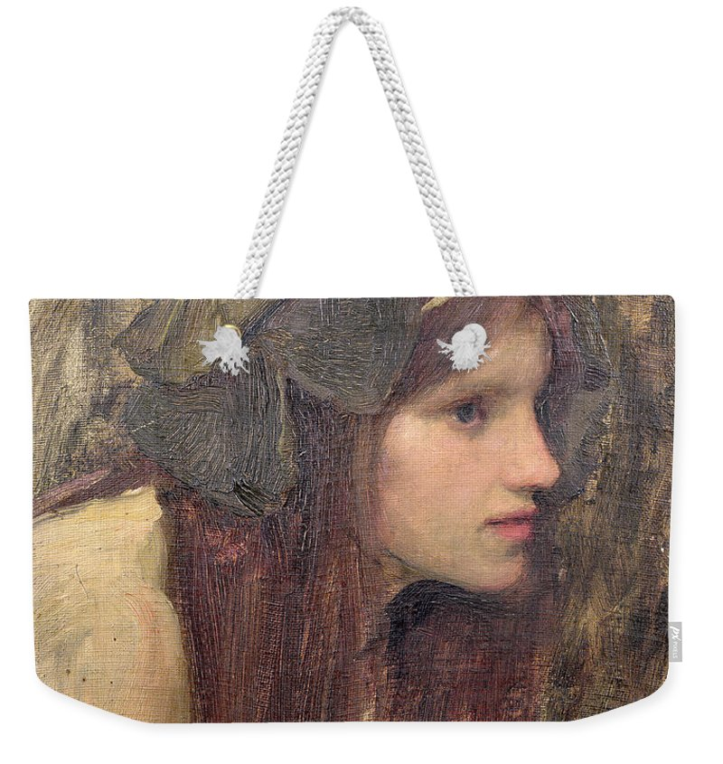 Naiad Weekender Tote Bag featuring the painting A Study For A Naiad by John William Waterhouse