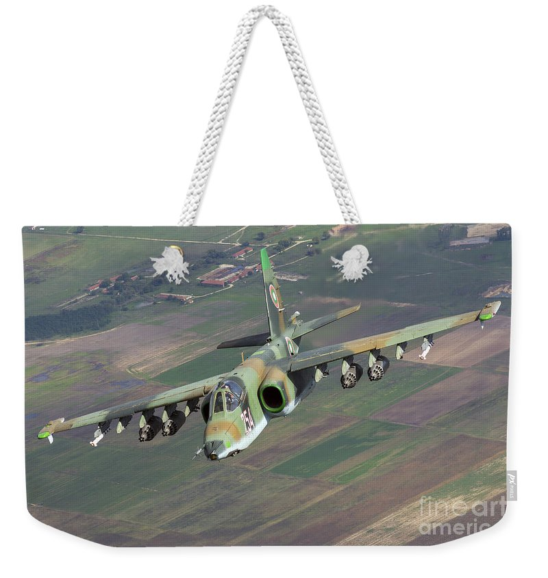 Bulgaria Weekender Tote Bag featuring the photograph A Sukhoi Su-25s Of The Bulgarian Air by Daniele Faccioli
