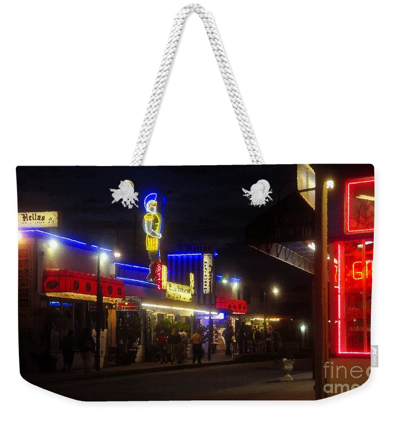 Summer Night Weekender Tote Bag featuring the painting A Summer Night In Tarpon Springs by David Lee Thompson