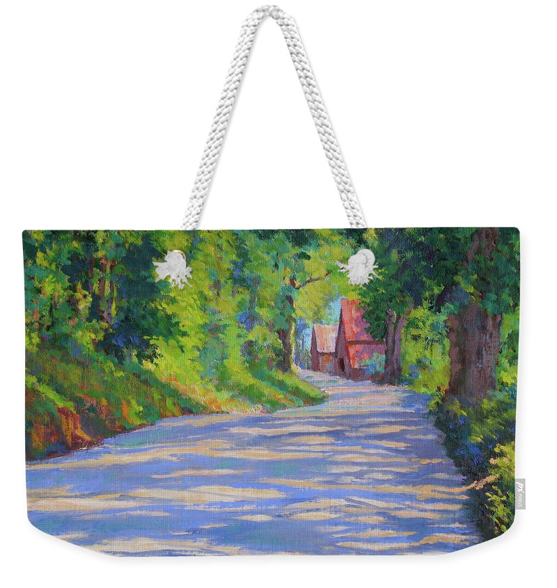 Landscape Weekender Tote Bag featuring the painting A Summer Road by Keith Burgess
