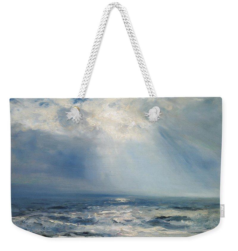 Seascape Weekender Tote Bag featuring the painting A Sunbeam Over The Sea by Henry Moore