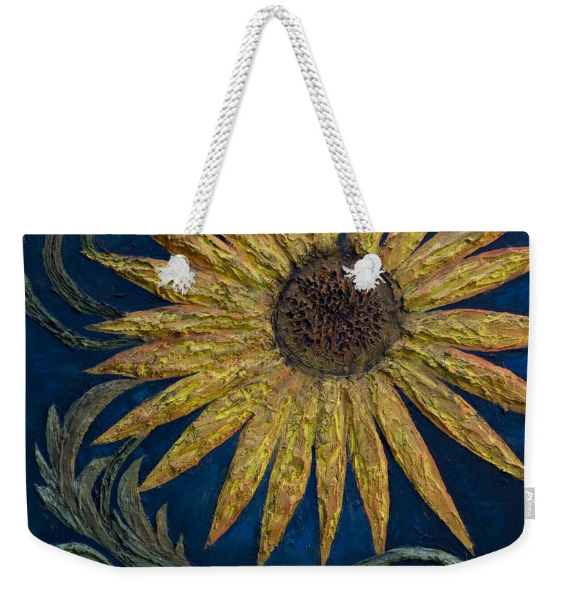 Sunflower Weekender Tote Bag featuring the painting A Sunflower by Kelly Jade King