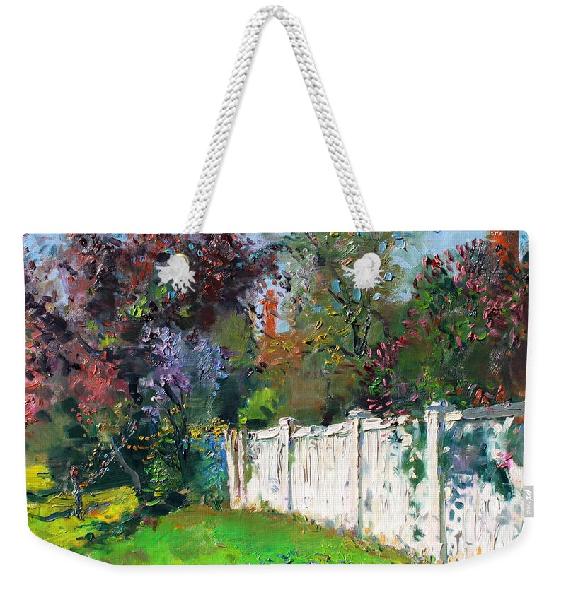 Trees Weekender Tote Bag featuring the painting A Sunny Sunday by Ylli Haruni