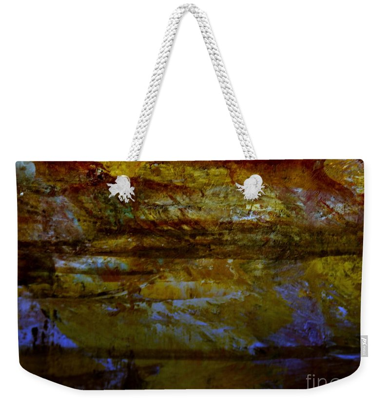Abstract Mountain Landscape With Picasa Color Weekender Tote Bag featuring the digital art A Sunset Glow by Nancy Kane Chapman