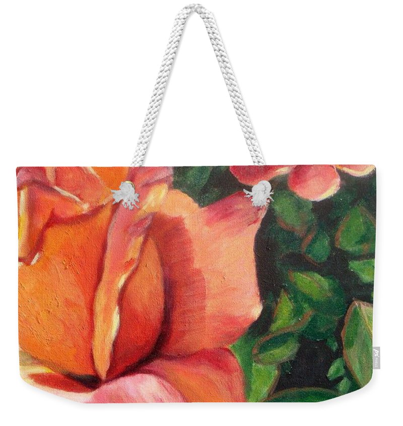 Rose Weekender Tote Bag featuring the painting A Tale Of Two Roses by Laurie Morgan