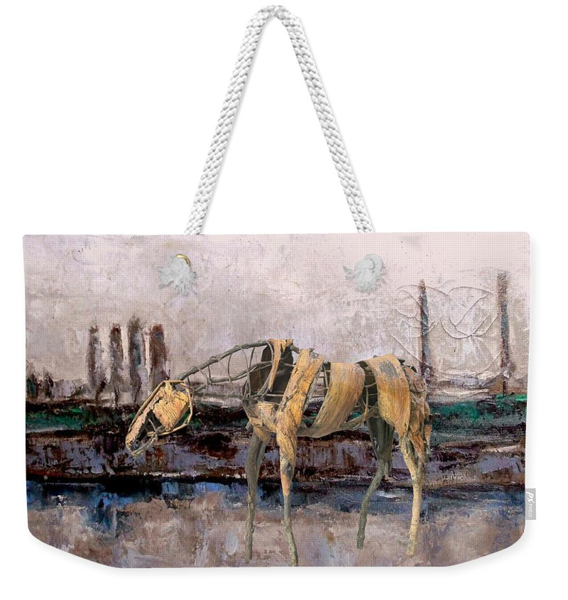 Landscape Weekender Tote Bag featuring the mixed media A Thirsty Horse 1 by Pemaro