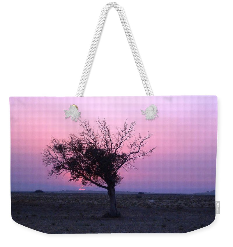 Lone Tree Sunset Purple Sky Desert Isolated Lonely Baron Land Weekender Tote Bag featuring the photograph A Touch Of Alone by Andrea Lawrence