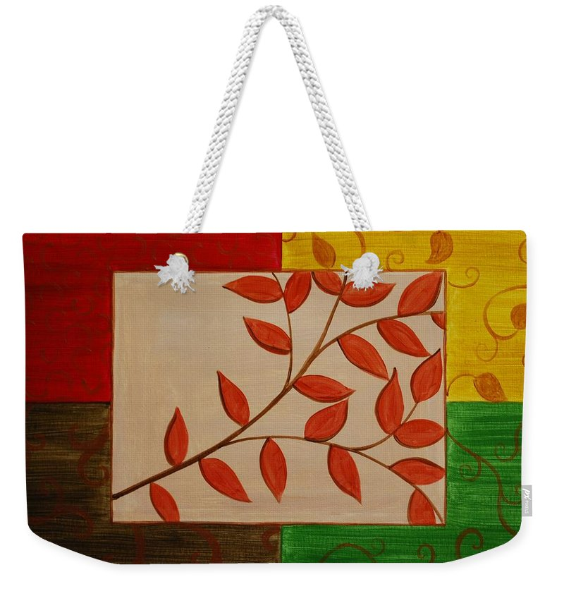 Fall Weekender Tote Bag featuring the painting A Touch Of Fall by Emily Page