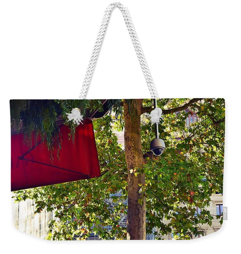 Tree Weekender Tote Bag featuring the photograph A Touch Of Red by Valerie Dauce