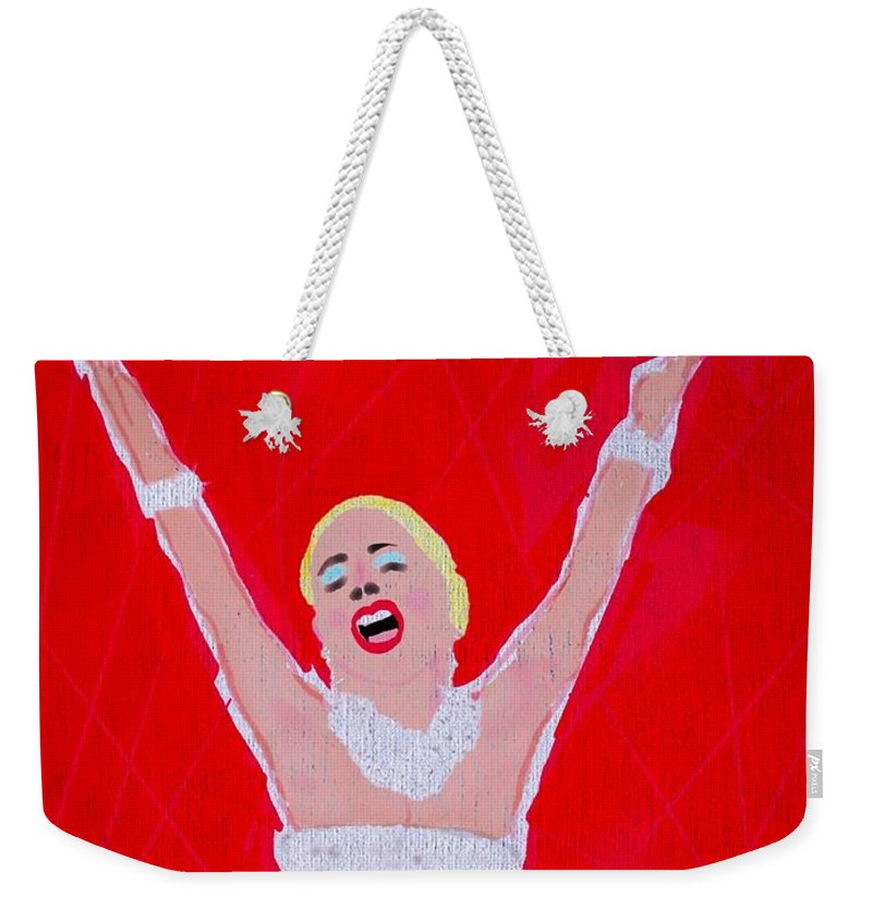 Patti Lupone Weekender Tote Bag featuring the mixed media A Touch Of Star Quality by Jim Smith