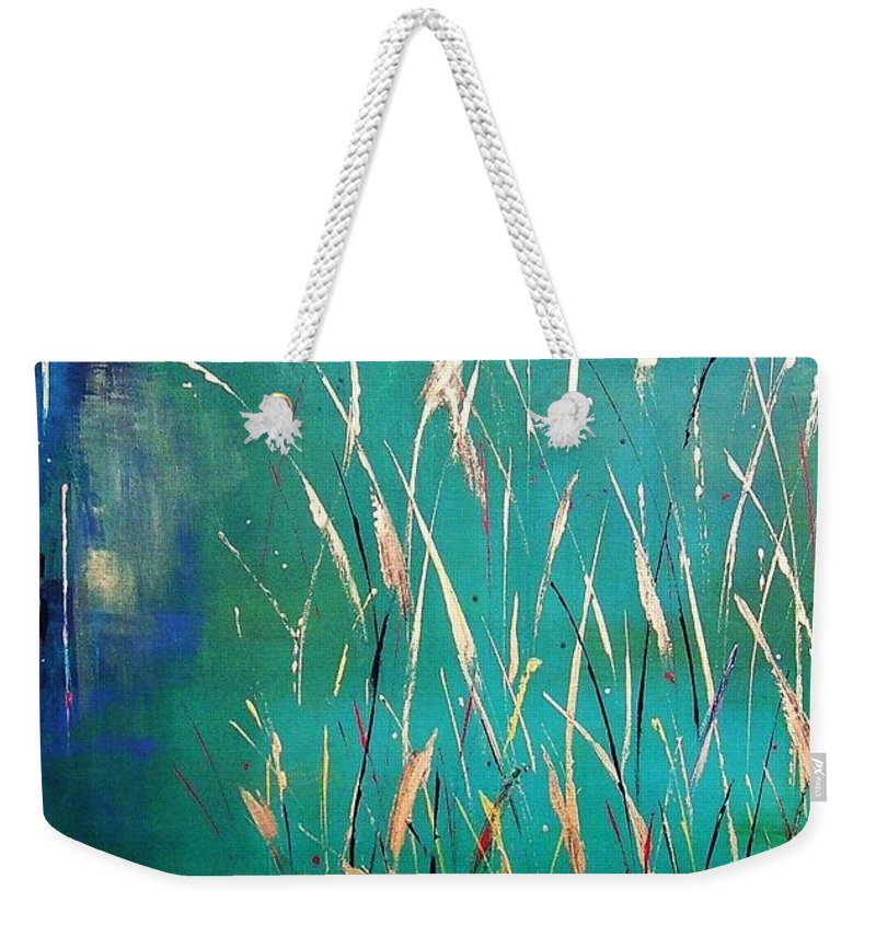 Abstract Landscape Weekender Tote Bag featuring the painting A Touch Of Teal by Frances Marino