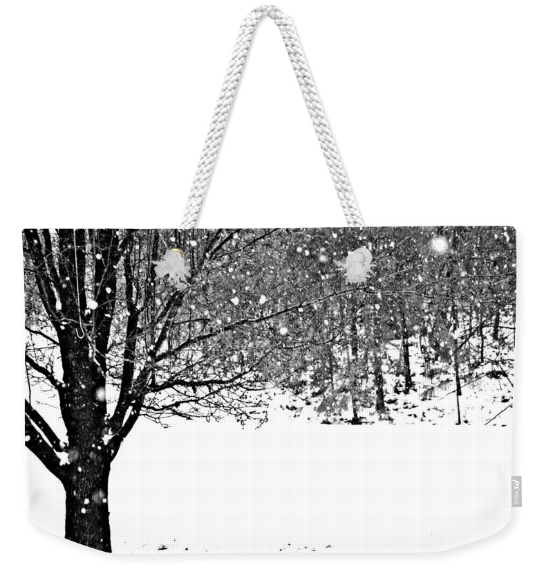Tree Weekender Tote Bag featuring the mixed media A Tree In Snowy Winter by Brenda Spencer