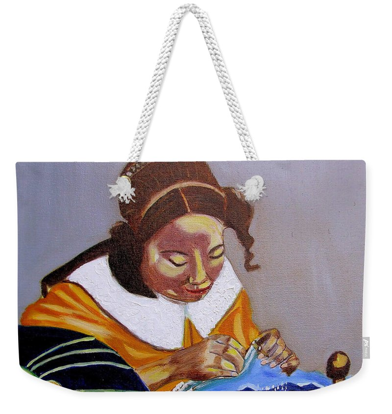 Pastiche Weekender Tote Bag featuring the painting A Tribute To Vermeer The Lacemaker by Rusty Gladdish