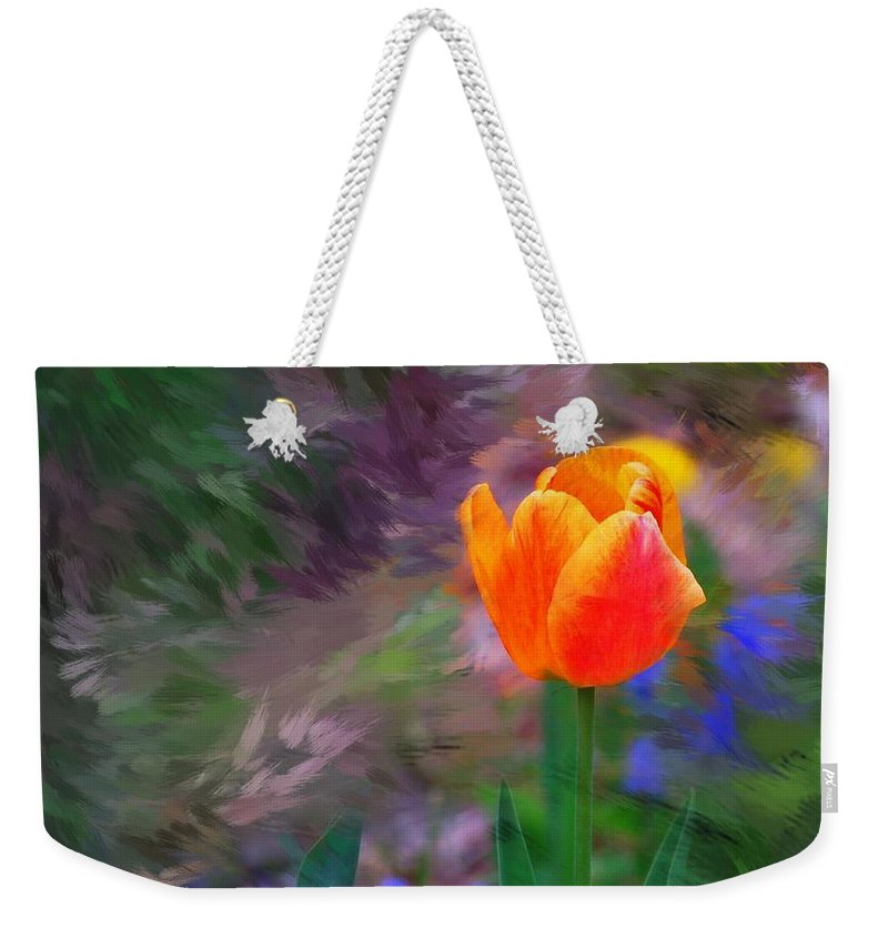 Floral Weekender Tote Bag featuring the digital art A Tulip Stands Alone by David Lane