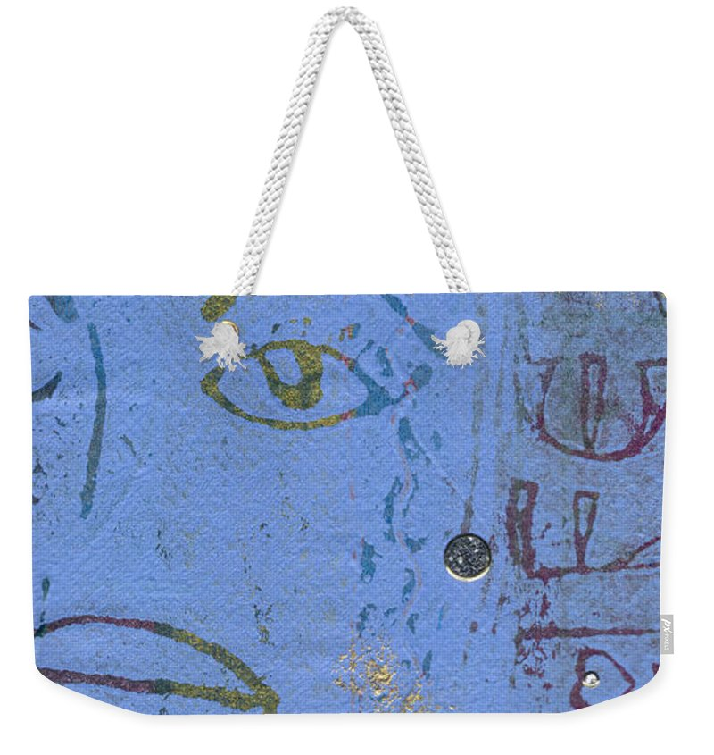 Woman Weekender Tote Bag featuring the mixed media A Very Blue Lady by Angela L Walker