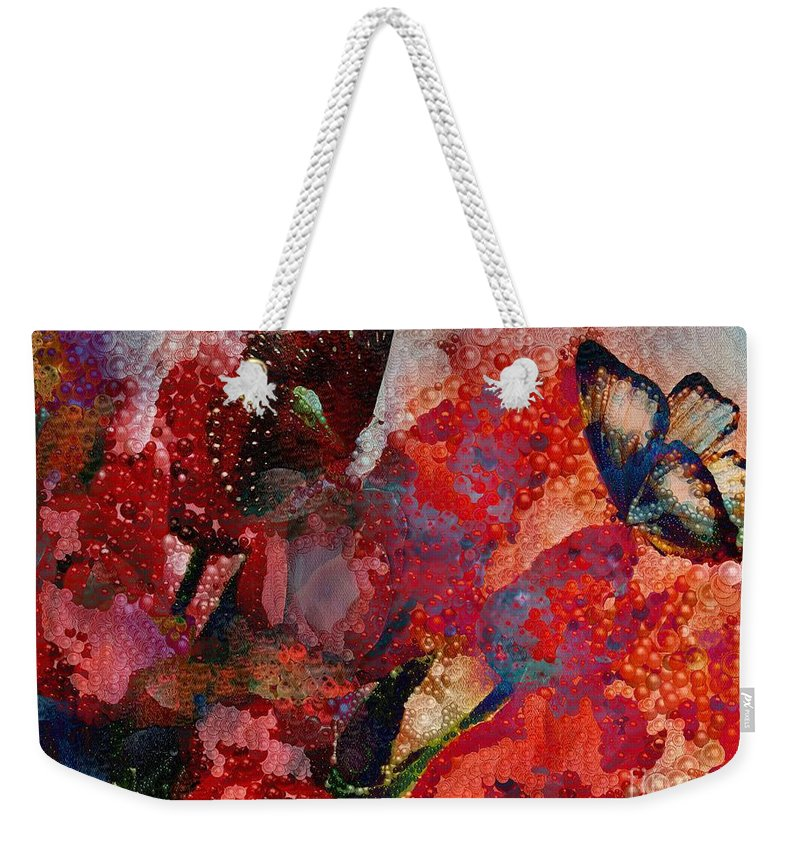 A Very Fairy Tale Of Two Butterflies In Pearlesque Weekender Tote Bag featuring the painting A Very Fairy Tale Of Two Butterflies In Pearlesque by Catherine Lott