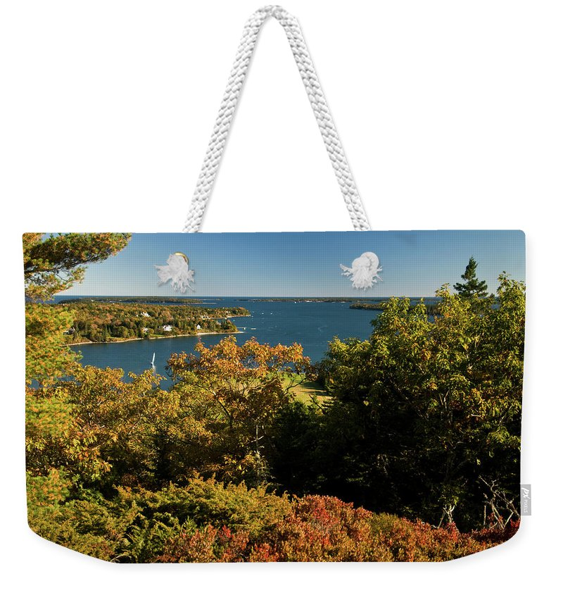 acadia National Park Weekender Tote Bag featuring the photograph A View From The Top by Paul Mangold