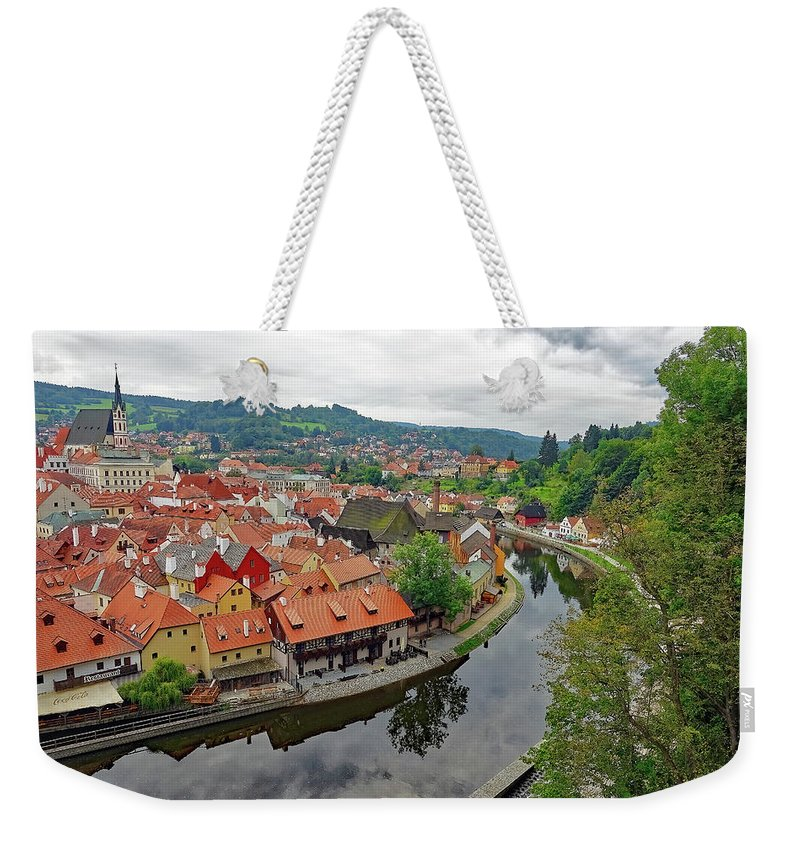 Cesky Krumlov Weekender Tote Bag featuring the photograph A View Of Cesky Krumlov And The Vltava River In The Czech Republic by Richard Rosenshein