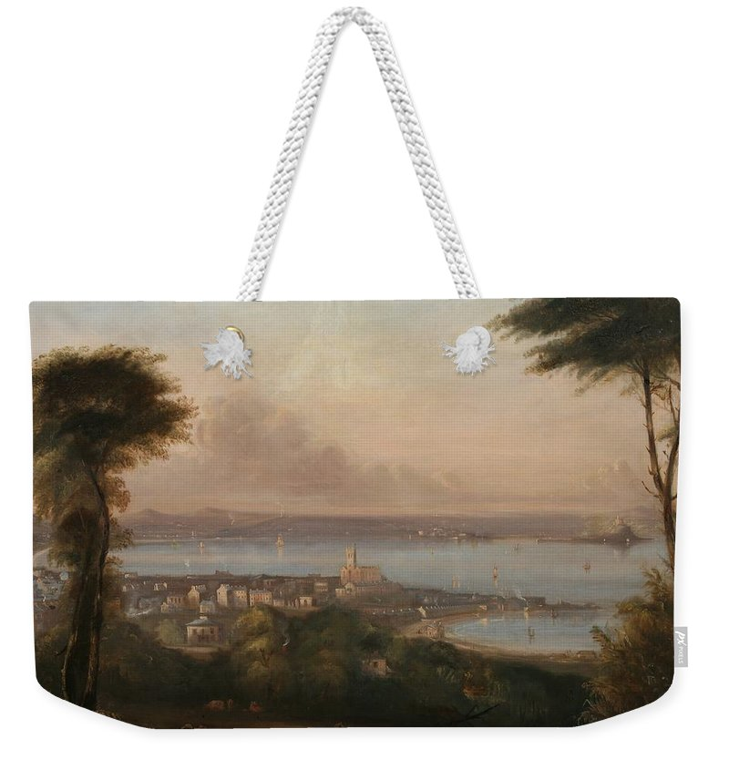Cornish Weekender Tote Bag featuring the painting A View Of Penzance by Richard Thomas Pentreath
