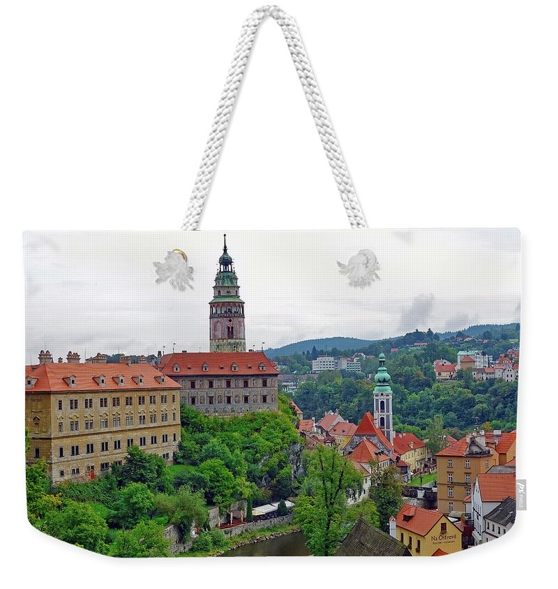 Cesky Krumlov Weekender Tote Bag featuring the photograph A View Of The Cesky Kromluv Castle Complex In The Czech Republic by Richard Rosenshein