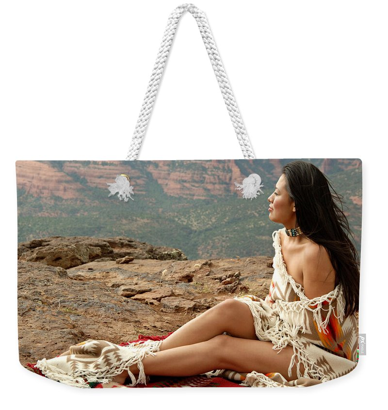 Native American Weekender Tote Bag featuring the photograph A View by Scott Sawyer
