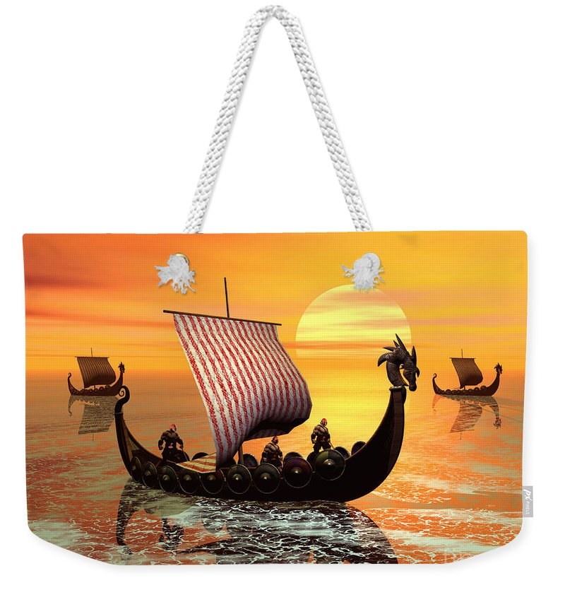 The Vikings Are Coming Weekender Tote Bag featuring the digital art The Vikings Are Coming by John Junek