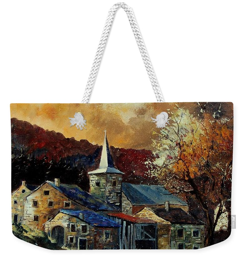 Tree Weekender Tote Bag featuring the painting A Village In Autumn by Pol Ledent