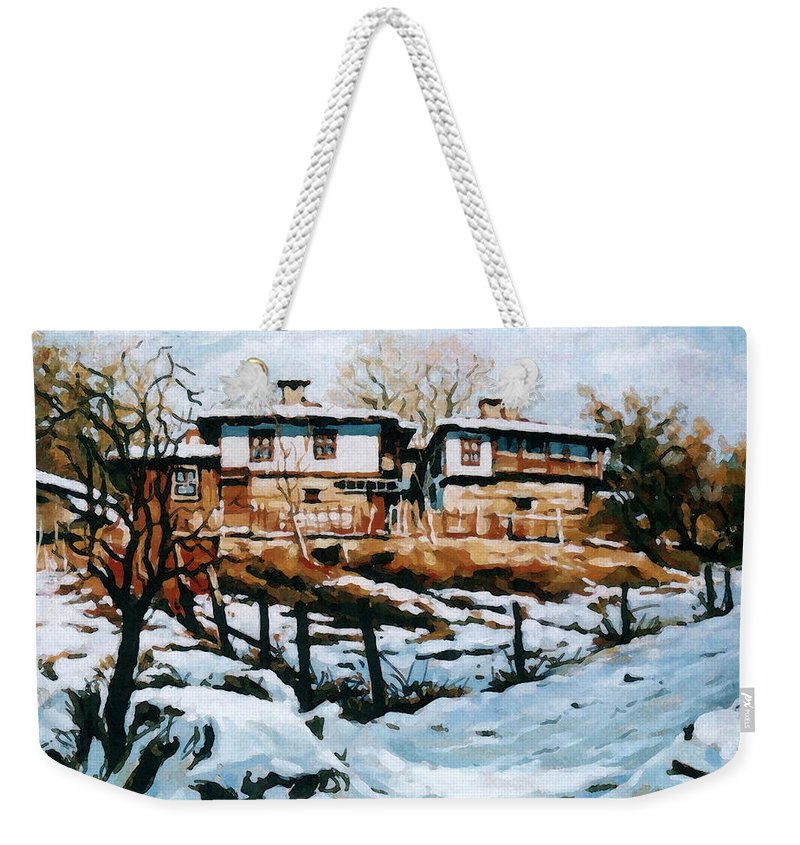 Landscape Weekender Tote Bag featuring the painting A Village In Winter by Iliyan Bozhanov