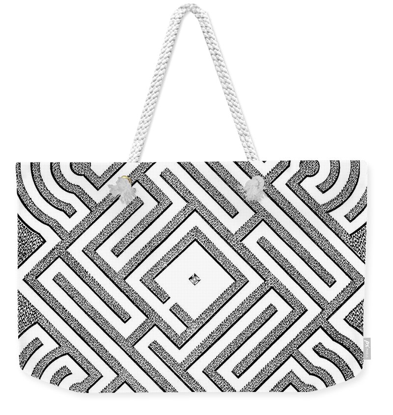 Vintage Weekender Tote Bag featuring the drawing A Vintage Parterr Plan by Andre Mollet