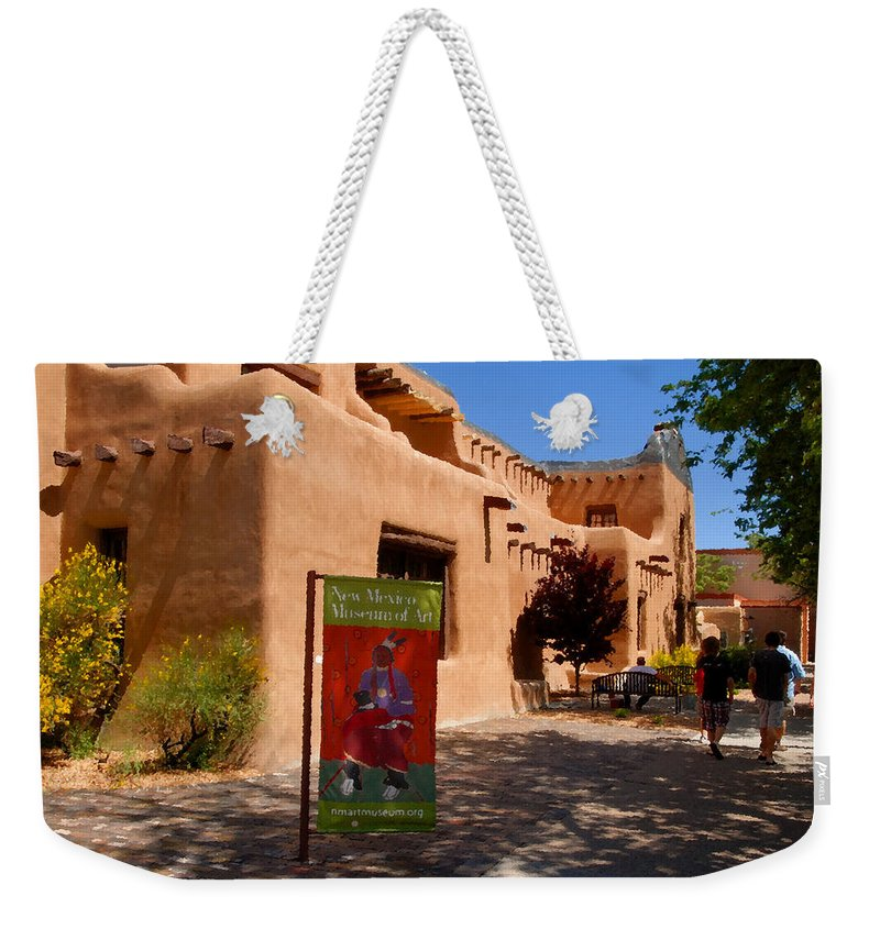 New Mexico Museum Of Art Weekender Tote Bag featuring the painting A Visit To The Museum by David Lee Thompson