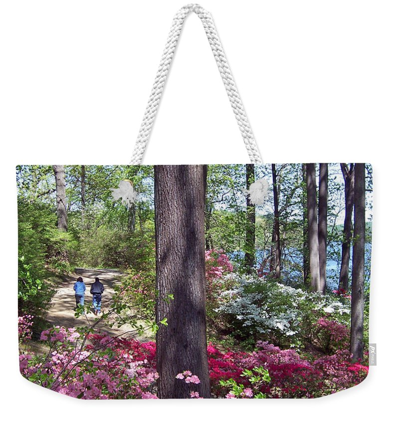 Weekender Tote Bag featuring the photograph A Walk Among The Azaleas by Iris Posner