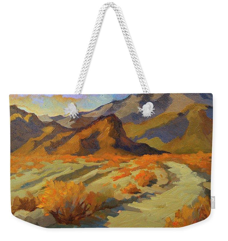 Walk In La Quinta Cove Weekender Tote Bag featuring the painting A Walk In La Quinta Cove by Diane McClary