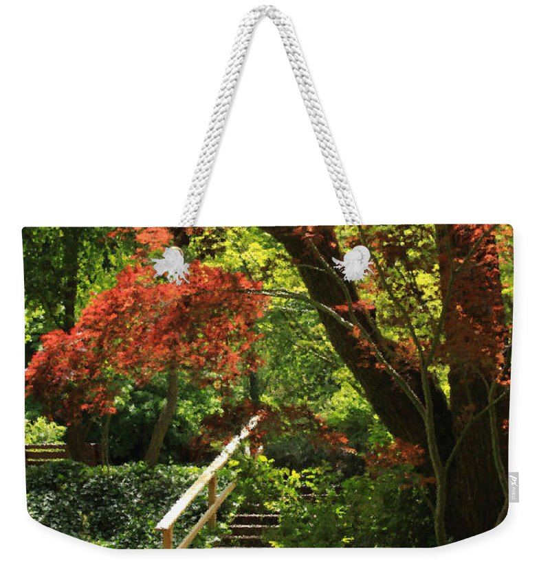 Floral Weekender Tote Bag featuring the photograph A Walk In Lithia Park by James Eddy