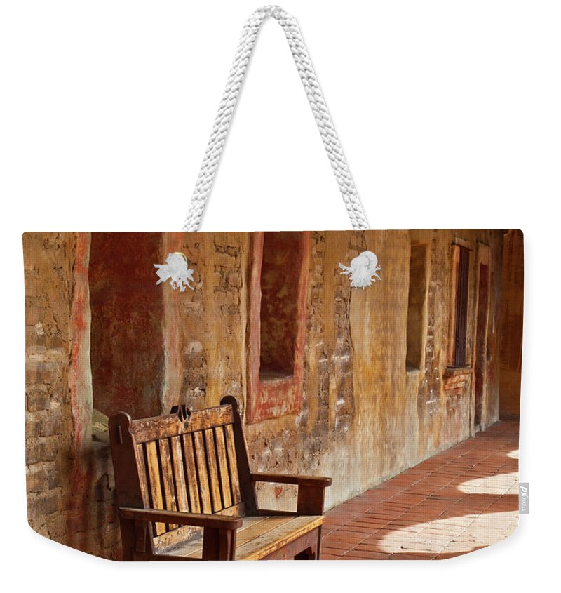 California Missions Weekender Tote Bag featuring the photograph A Warm Welcome, Mission San Juan Capistrano, California by Denise Strahm