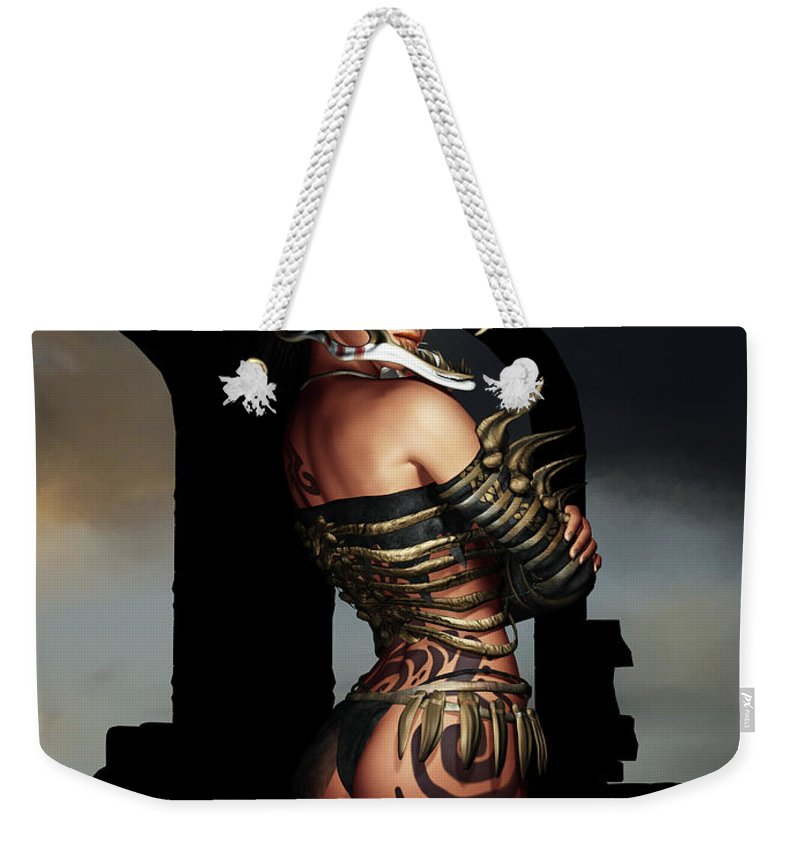 3d Weekender Tote Bag featuring the digital art A Warrior Stands Alone by Alexander Butler