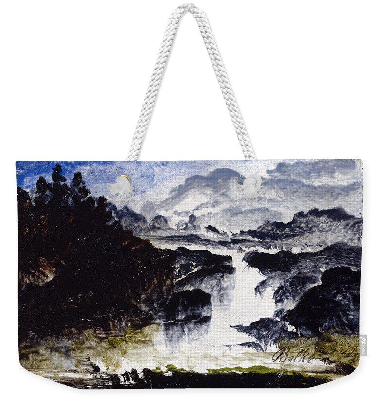 Peder Balke Weekender Tote Bag featuring the painting A Waterfall by Peder Balke