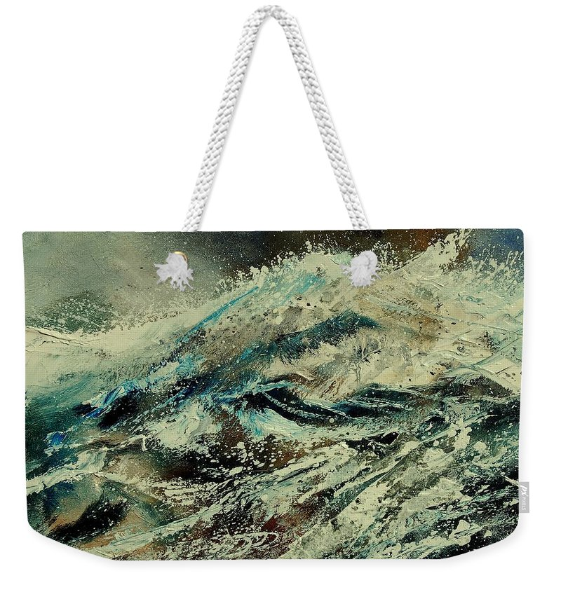 Sea Weekender Tote Bag featuring the painting A Wave by Pol Ledent