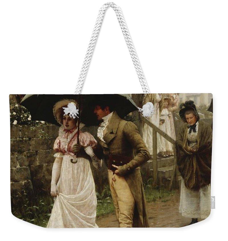 A Wet Sunday Morning Weekender Tote Bag featuring the painting A Wet Sunday Morning by Edmund Blair Leighton
