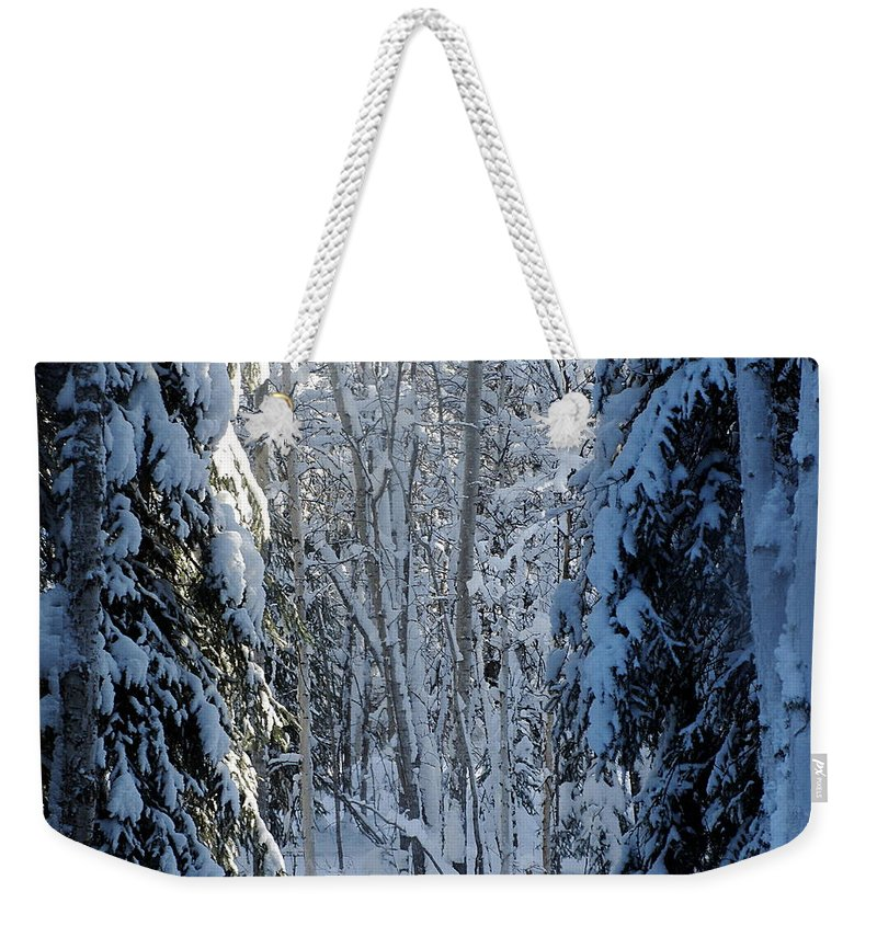 Winter Weekender Tote Bag featuring the photograph A Winter View by Calethia Baker