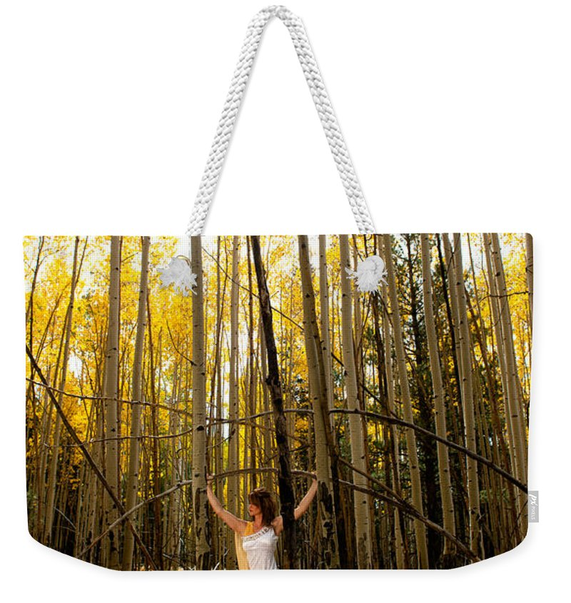 Aspen Weekender Tote Bag featuring the photograph A Woman In The Aspen by Scott Sawyer