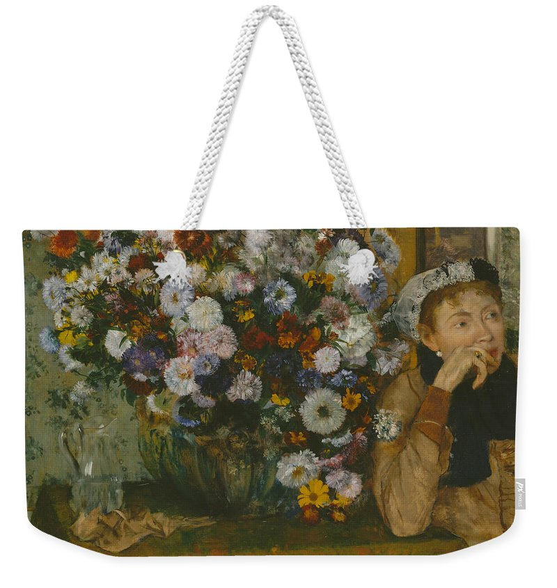 19th Century Art Weekender Tote Bag featuring the painting A Woman Seated Beside A Vase Of Flowers by Edgar Degas