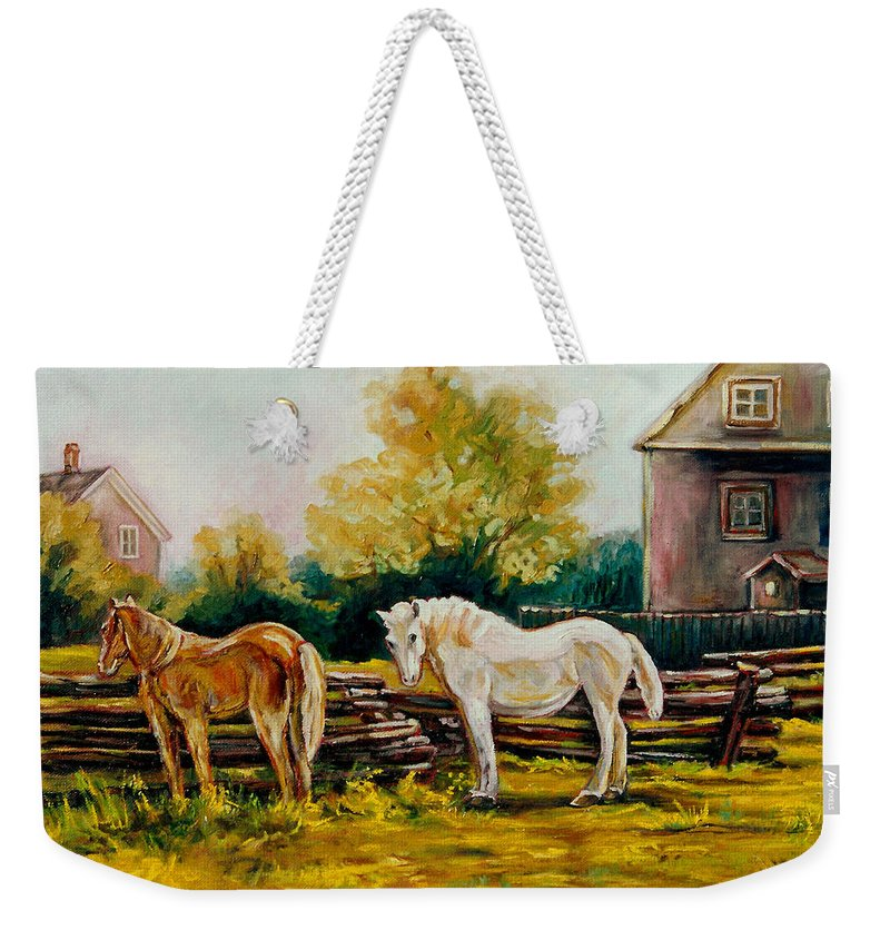 Horses Weekender Tote Bag featuring the painting A Wonderful Life by Carole Spandau