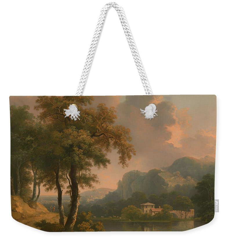 Painting Weekender Tote Bag featuring the painting A Wooded Hilly Landscape by Mountain Dreams