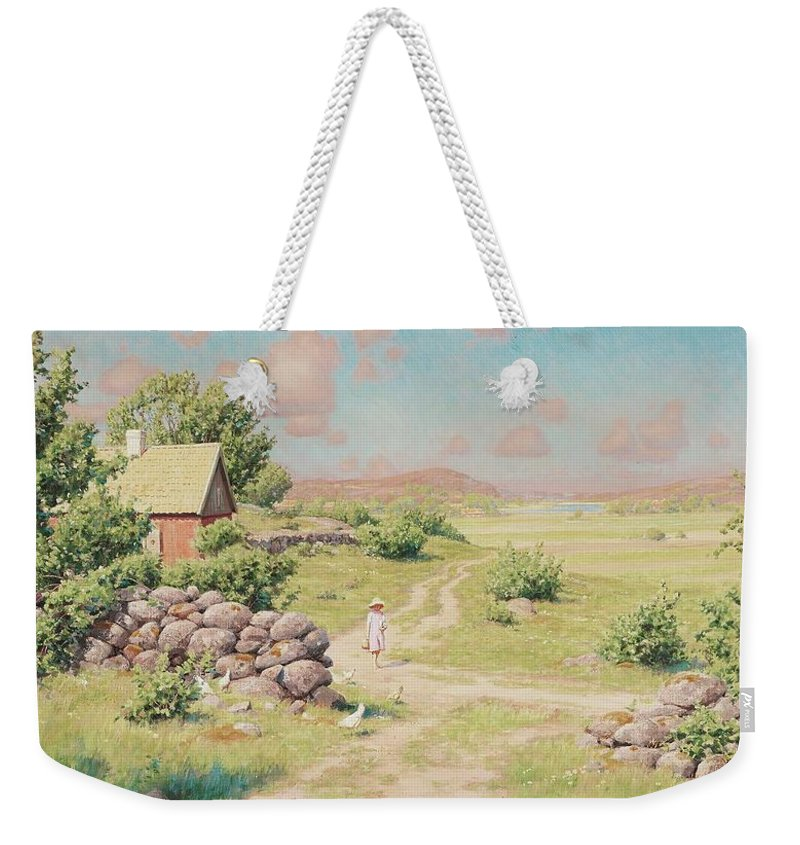Johan KrouthÉn Weekender Tote Bag featuring the painting A Young Girl In Summer Landscape by MotionAge Designs