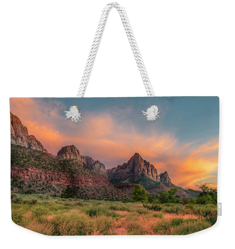 Zion Weekender Tote Bag featuring the photograph A Zion Sunset by Matthijs Bettman