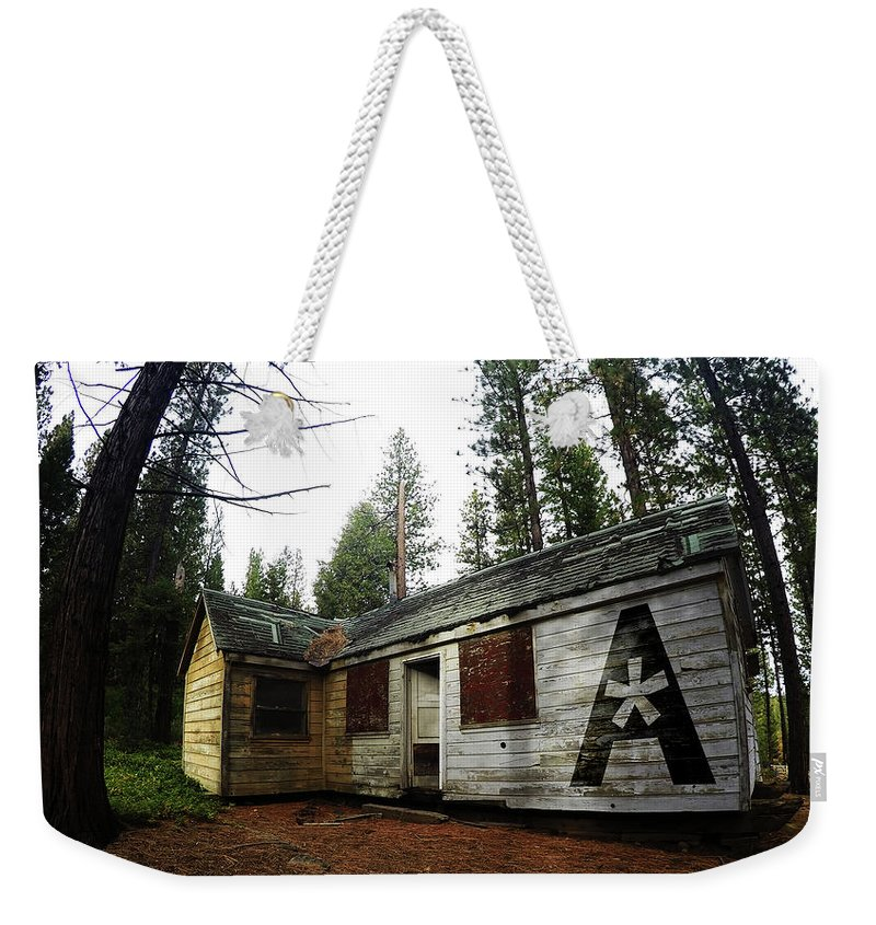 Dilapidated Weekender Tote Bag featuring the photograph Abandoned Asterisk Logo Poster by Aaron James