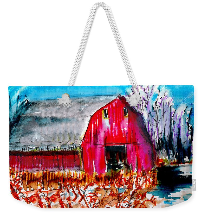 Abandoned Weekender Tote Bag featuring the painting Abandoned Barn by Seth Weaver