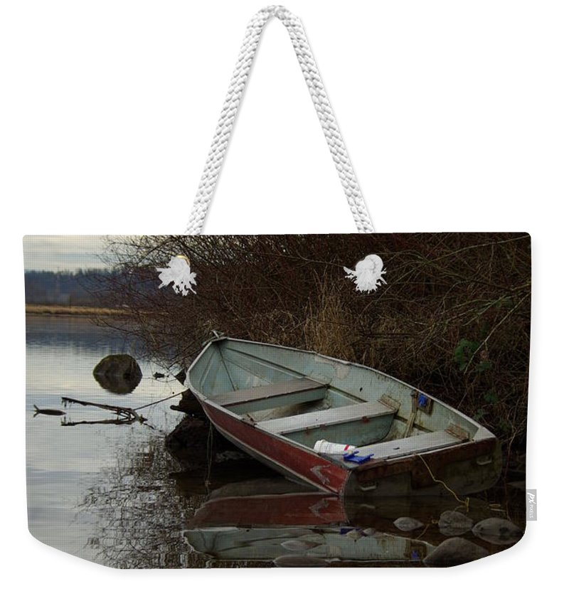 Abandoned Weekender Tote Bag featuring the photograph Abandoned Boat by Cindy Johnston