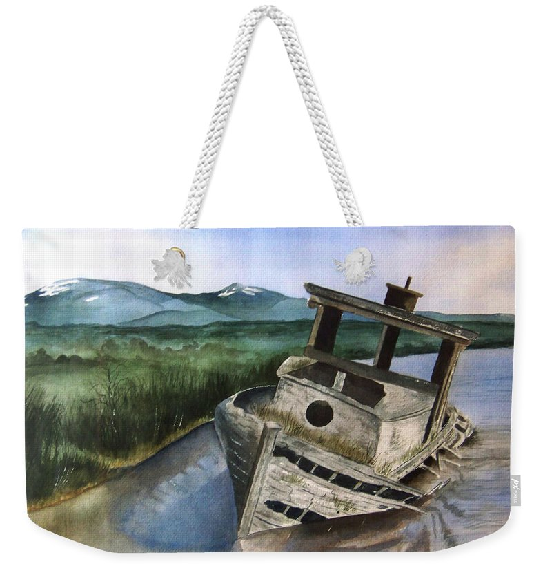 Watercolor Weekender Tote Bag featuring the painting Abandoned by Brenda Owen