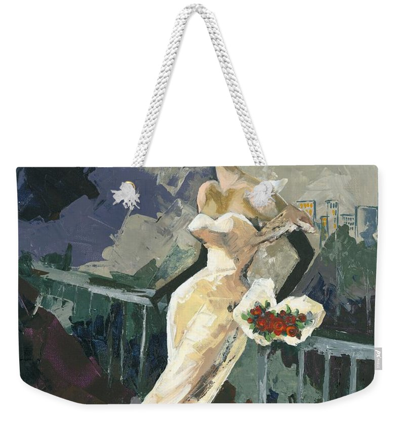 Acrylic Weekender Tote Bag featuring the painting Abandoned by Elisabeta Hermann